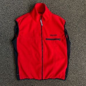Men's L Marmot Vintage Red Full-zip Fleece Vest